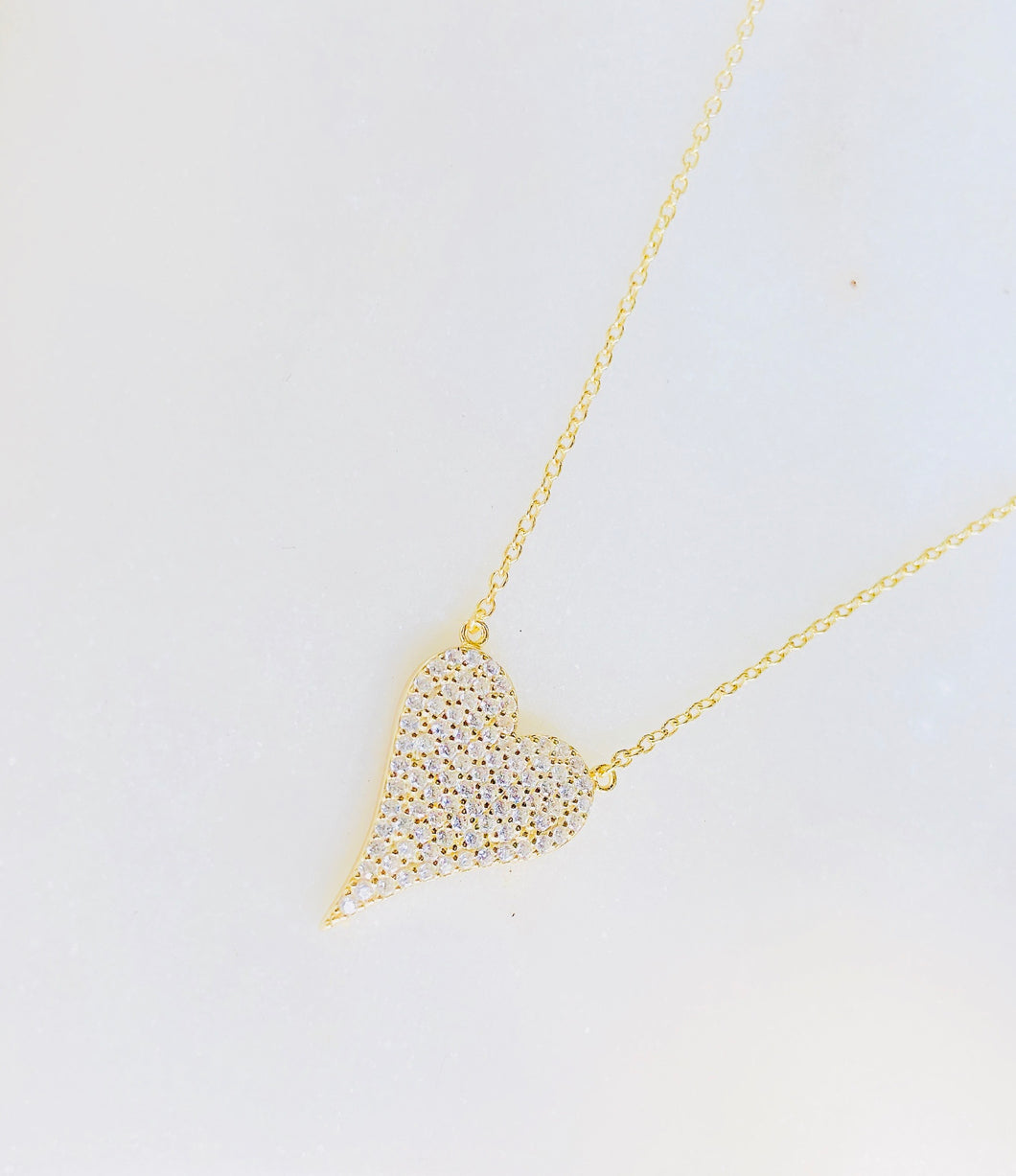 Sterling Silver Gold Plated Love Hard Pave Heart Necklace - Gold