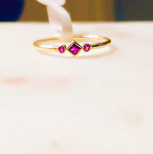 Sterling Silver 14K Gold Plated Scarlett Red Stone Ring