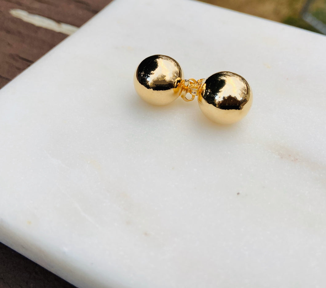 Mega Ball Plated Brass Stud Earrings