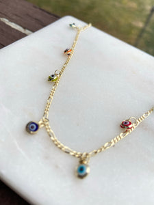 Gold Plated Evil Eye Anklet