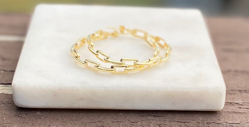 The Jacqueline Gold Plated Chain Link Hoop Earrings
