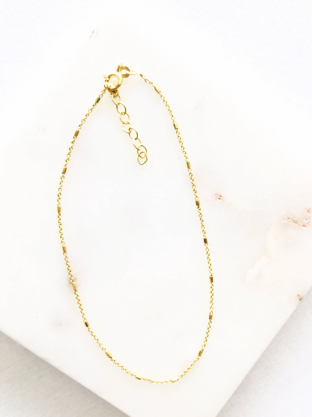 Bar and Chain Sterling Silver Gold Plated Anklet