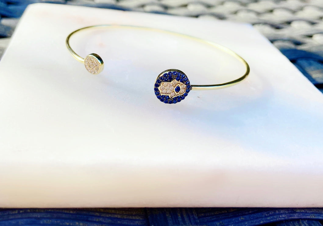 Sterling Silver Gold Plated Adjustable Hamsa Protector Bangle