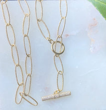 Load image into Gallery viewer, Gold Link Custom Lariat Toggle Necklace