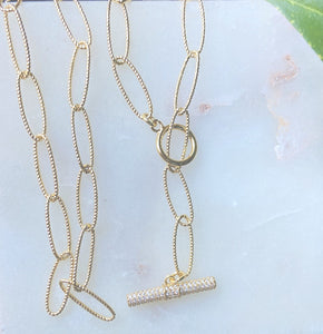 Gold Link Custom Lariat Toggle Necklace