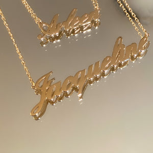 Custom Made 14K Gold Nameplate Necklace