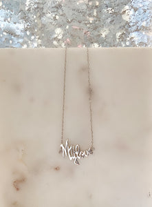 Sterling Silver 14K Gold Plated MY LOVE Necklace - Silver