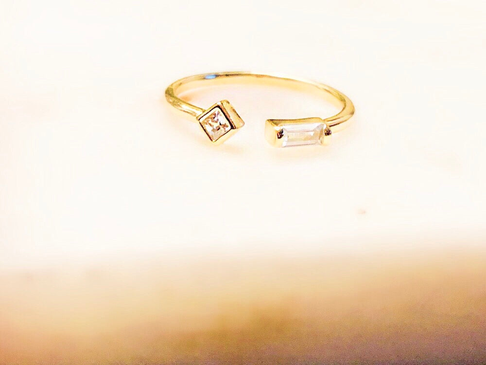 Sterling Silver 14K Gold Plated Open Space Ring
