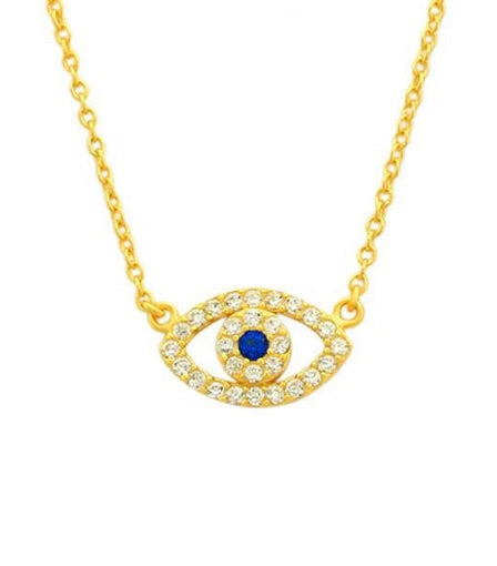 925 Sterling Silver/Gold Tone Mini Evil Eye Necklace