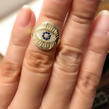 Load image into Gallery viewer, Sterling Silver 14K Gold Plated Evil Eye Medallion Ring