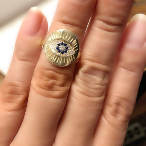 Sterling Silver 14K Gold Plated Evil Eye Medallion Ring
