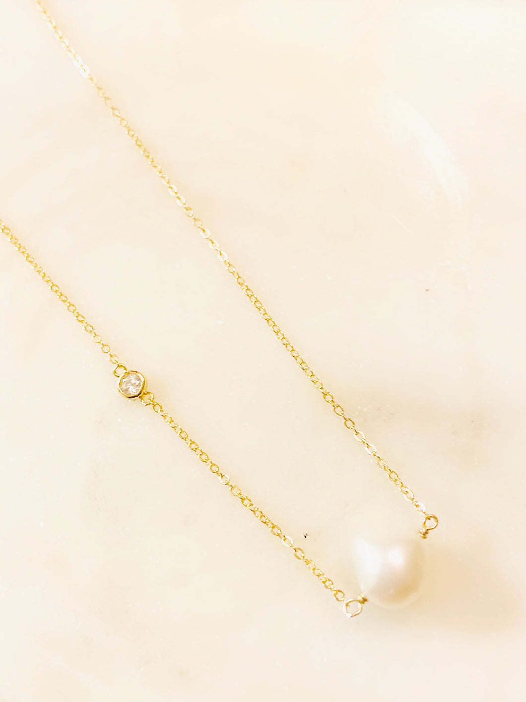 Sterling Silver Gold Plated Floating Baroque Pearl and Cubic Zirconia Necklace