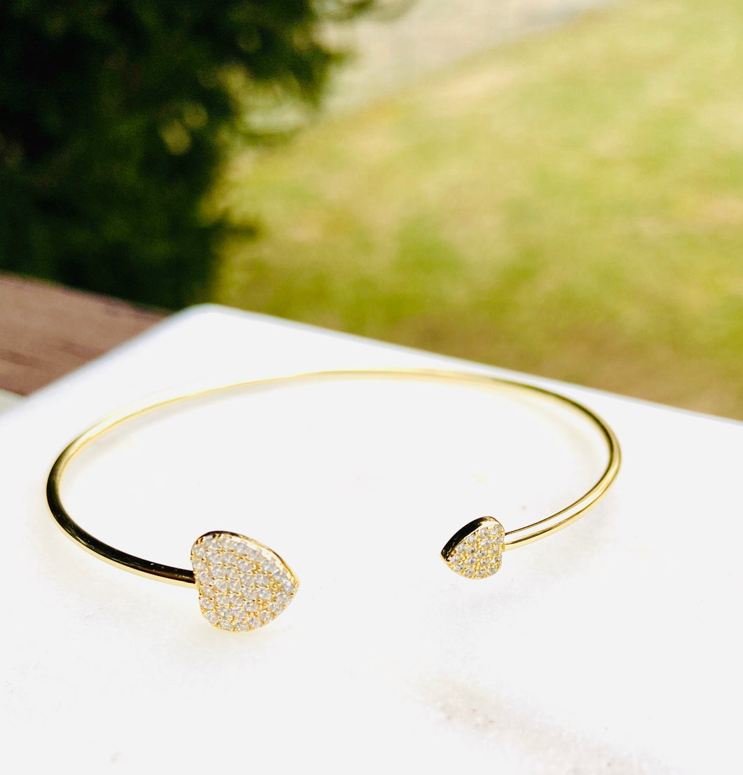 No Love is to Big or to Small Sterling Silver Gold Plated Pave Stones Bangle
