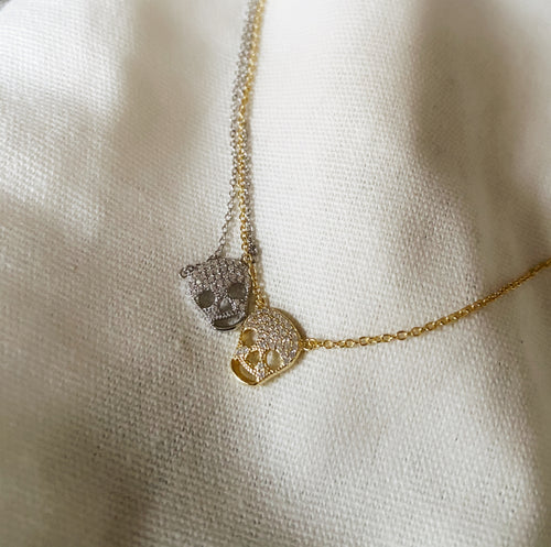 Sterling Silver Gold Plated My Skull Necklace