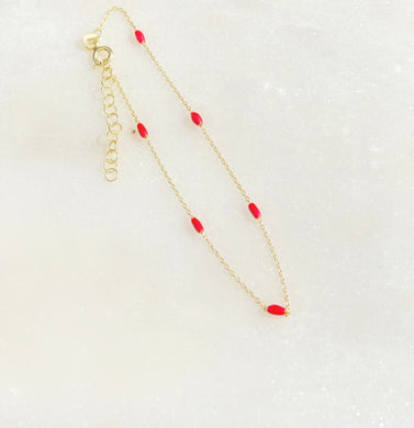 Splash of Red Sterling Silver Gold Tone Bracelet