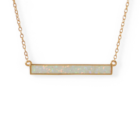Sterling Silver/14 Karat Gold Plated Faux White Opal Bar Necklace