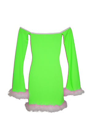 THE FURRY 'MARILYN' DRESS pink/orange/green