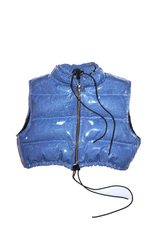 "CROPPED ""BUBBLE DENIM VINYL "" VEST"