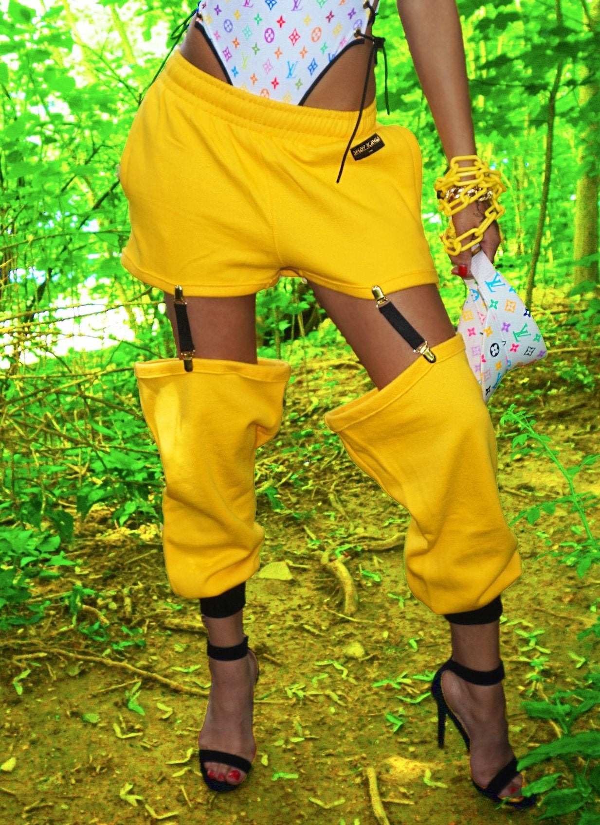 THE 'CUT UP JOGGER' yellow/black