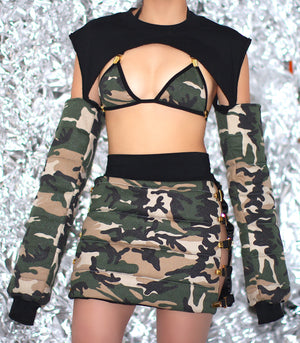 "THE ""ARMY PUFFER CROP "" TOP"