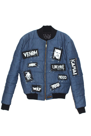 PATCHED'UP DENIM BOMBER JACKET