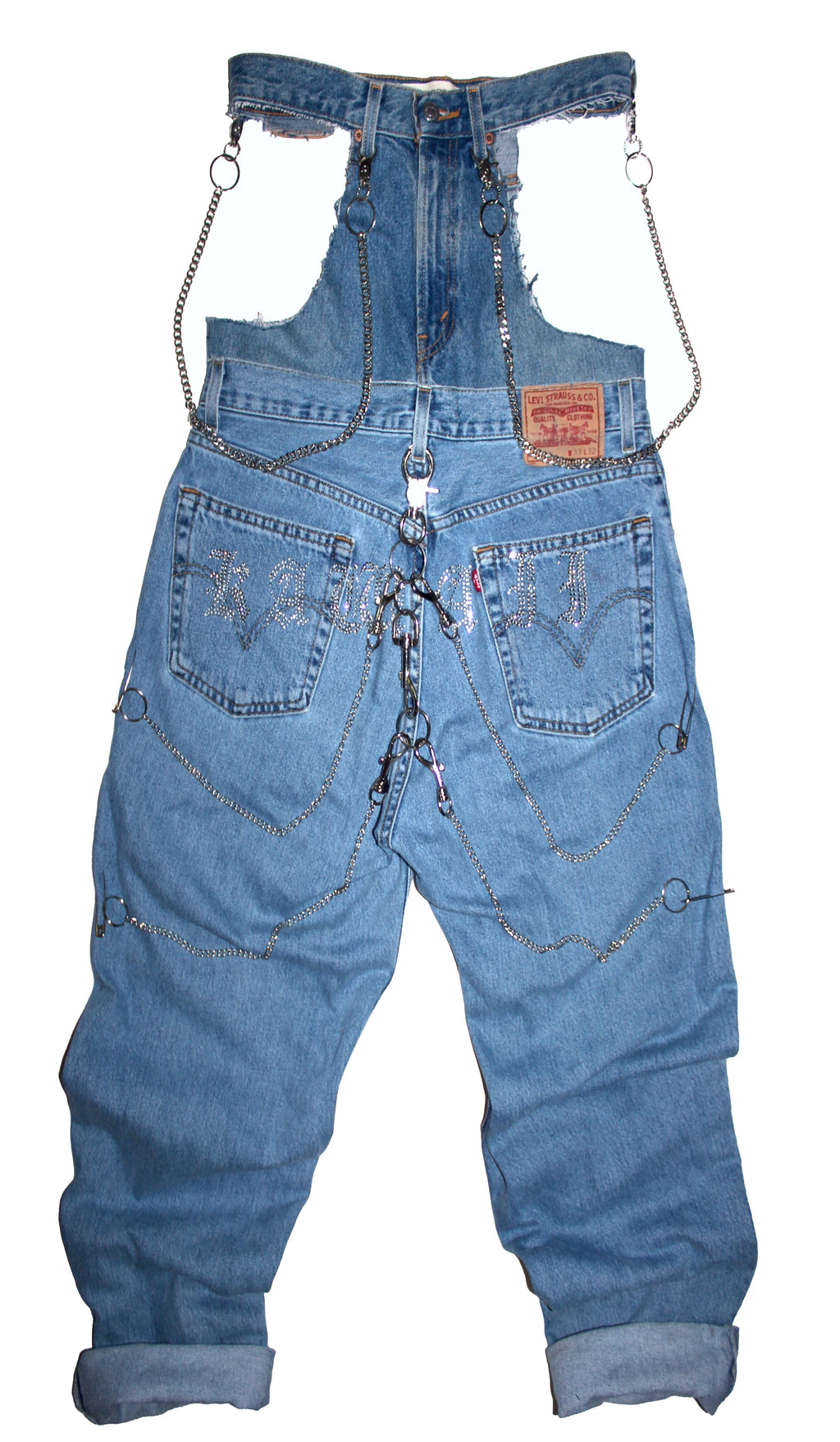 "THE ""IGGY CUT OUT RHINESTONE JEANS"""