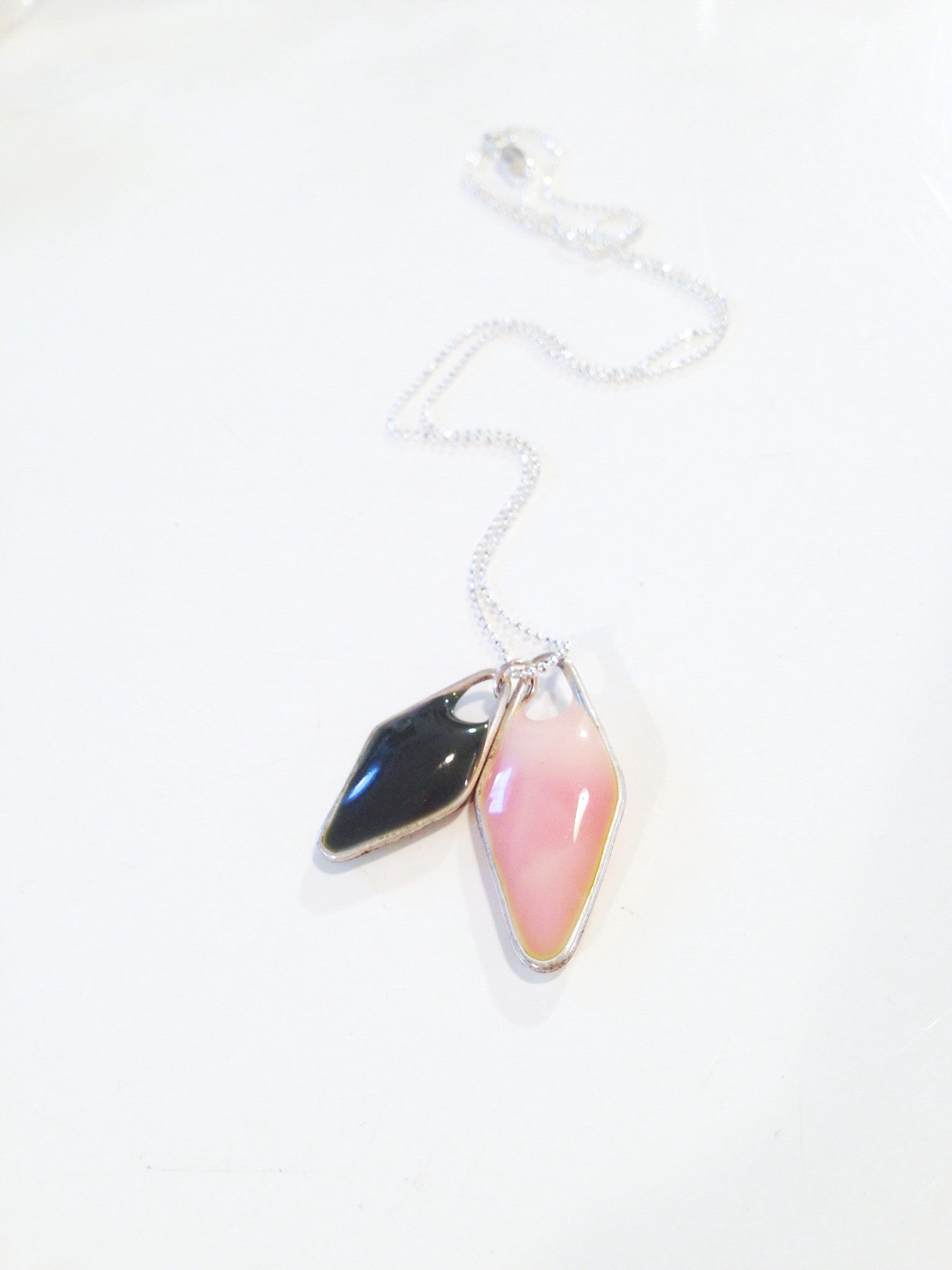 VERRE GLASS AND STERLING SILVER DOUBLE NECKLACE - PINK AND GREY