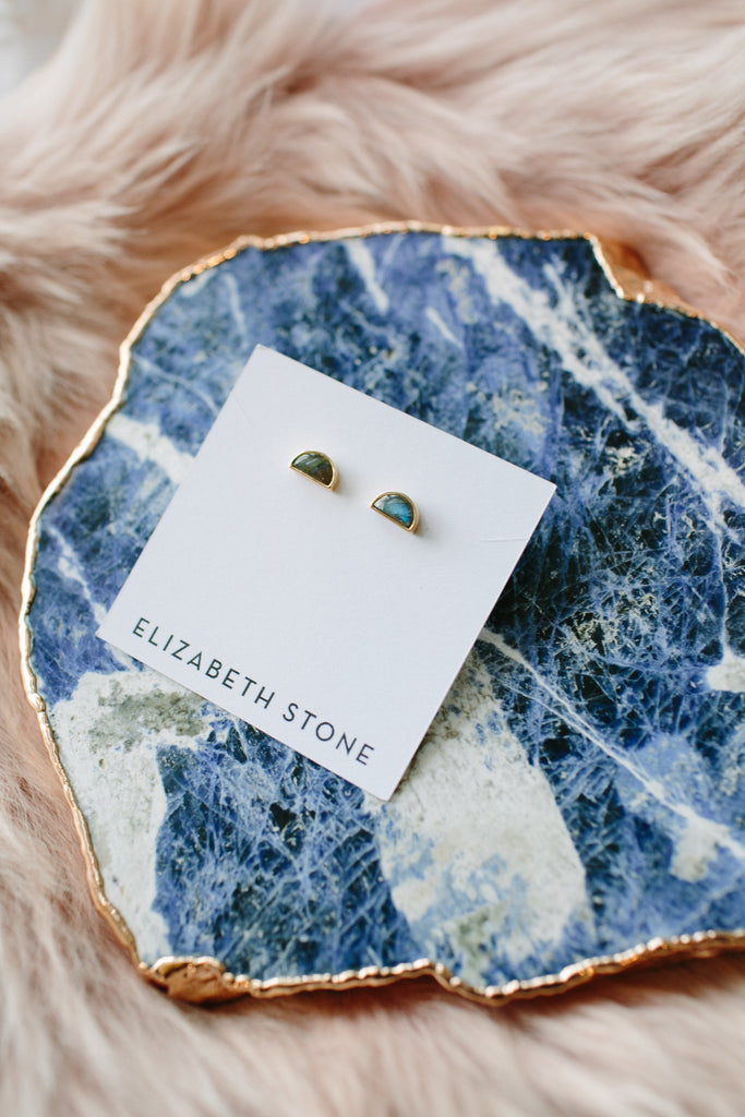 ELIZABETH STONE Labradorite Stud Earrings