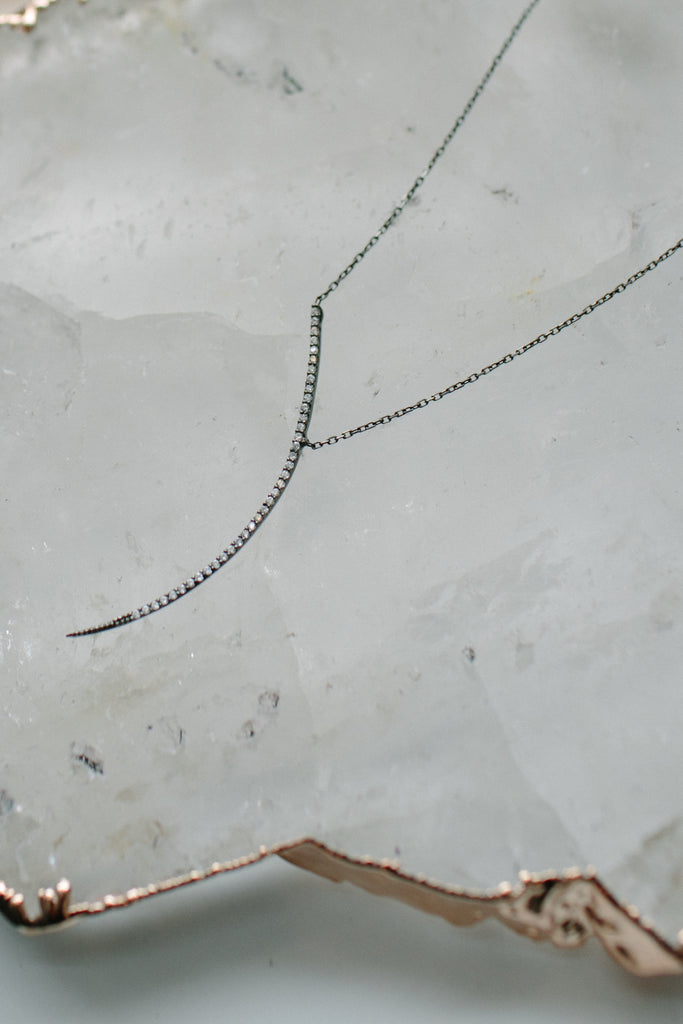 Pave Thin Arc Necklace