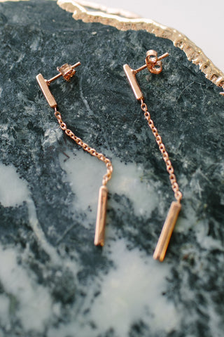 Rose Gold Drop and Bar Earrings