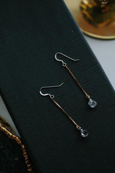 SEREFINA Delicate Healing Crystal Chain Drop Earrings