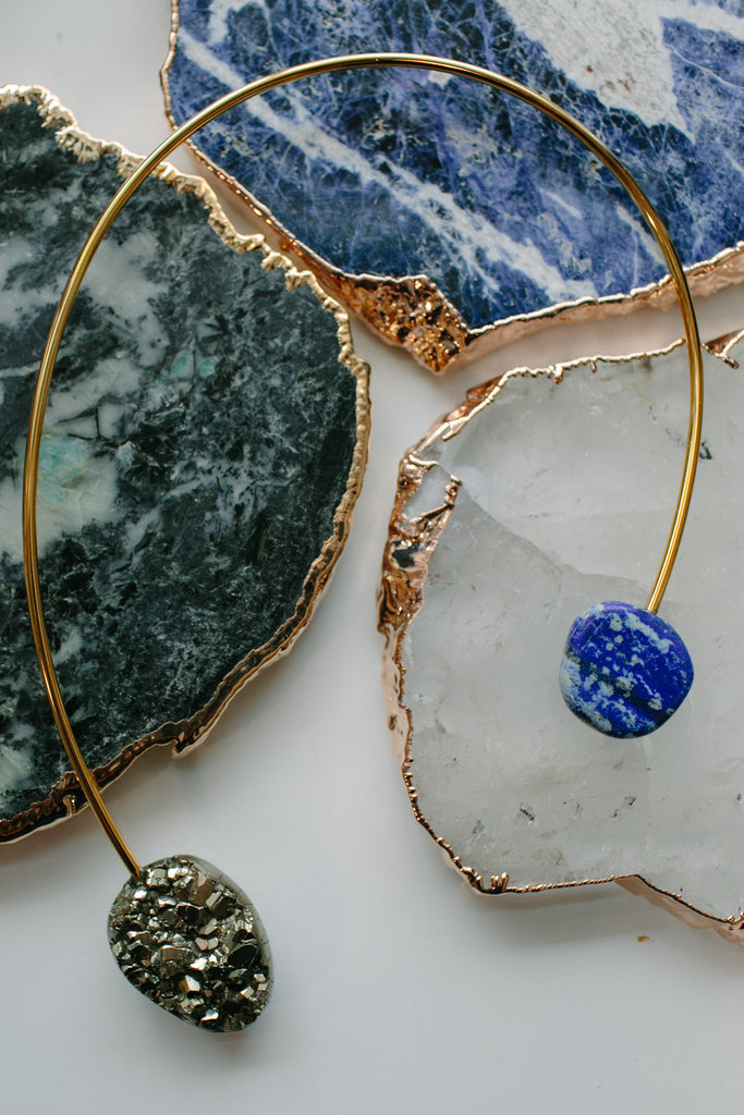 SERAPHINE Pyrite and Lapis Asymmetrical Choker