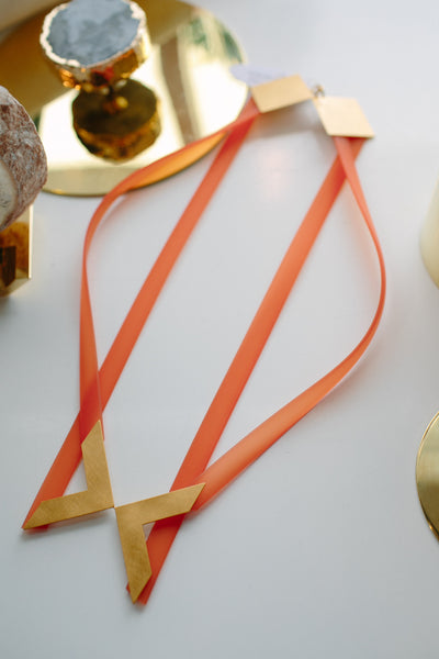 PETRA MEIREN Orange Silicone Necklace with Brass
