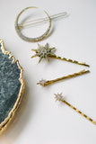 SEREFINA Antique Gold Celestial Pave Moon and Star Hair Clips