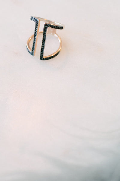 BLCKLAMB Rose Gold Plated Ring with Pave Black Stones
