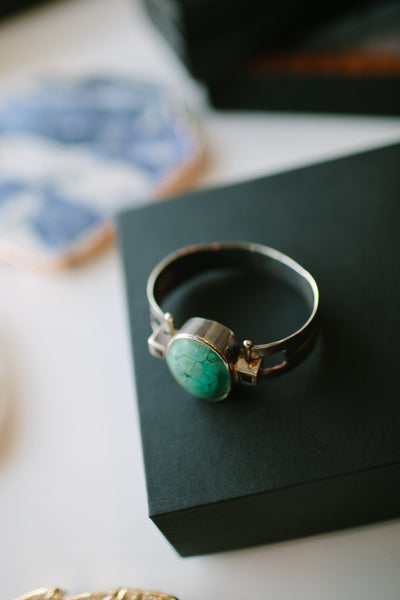 BLCKLAMB Sterling Silver Cuff with Turquoise and Garnet