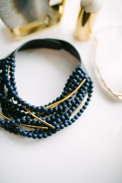Fairchild Baldwin Mini Bella Necklace in Navy / Gold
