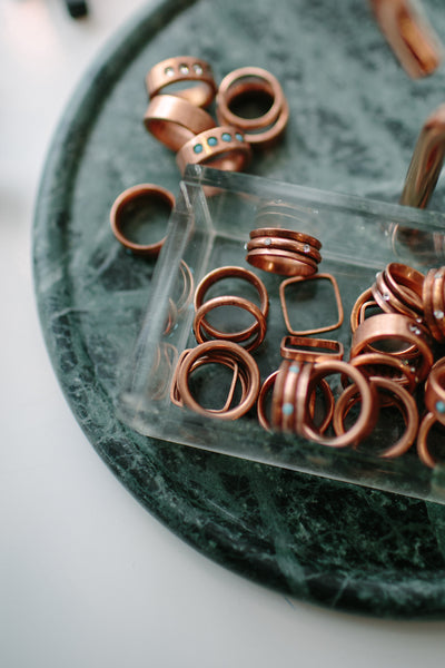 Copper Stone Rings in Turquoise or Crystal