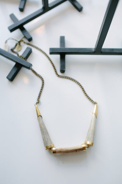 LB Antler & Brass Necklace
