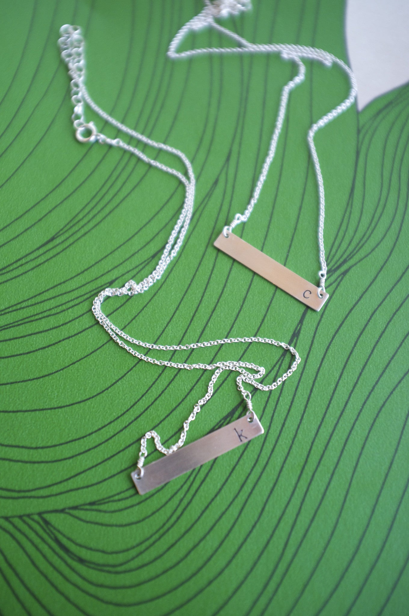 STERLING SILVER INITIAL horizontal bar necklace