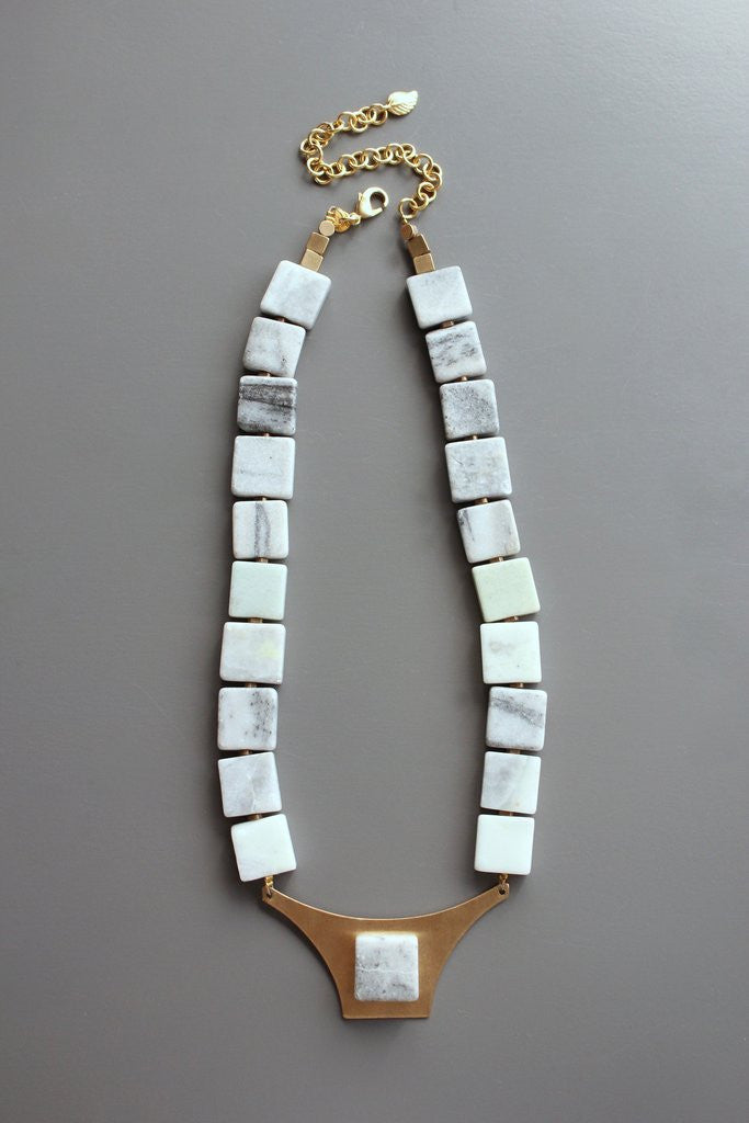 DA Marble and Brass Necklace