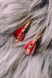 SEREFINA Feather Earrings with Vintage Gold Chain
