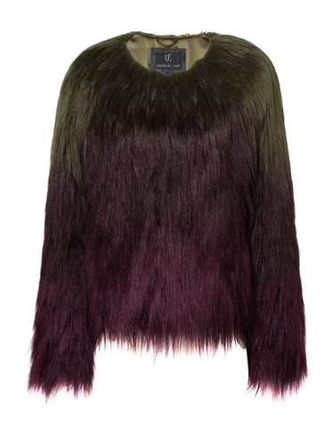 UNREAL FUR LIQUID FUDGE JACKET IN OMBRE OLIVE TO PLUM