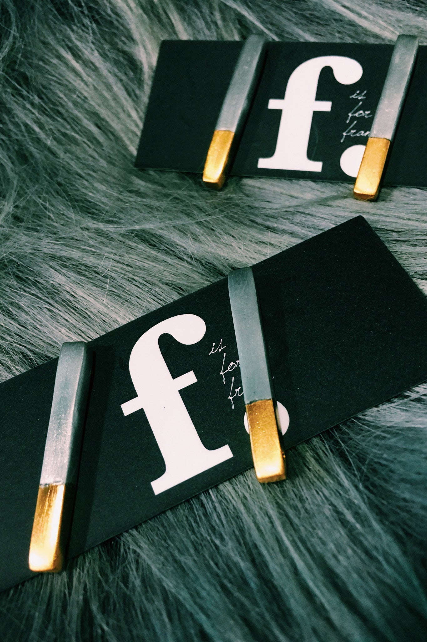 F IS FOR FRANK bar studs in pewter / gold