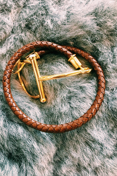 Stirrup leather bracelet.