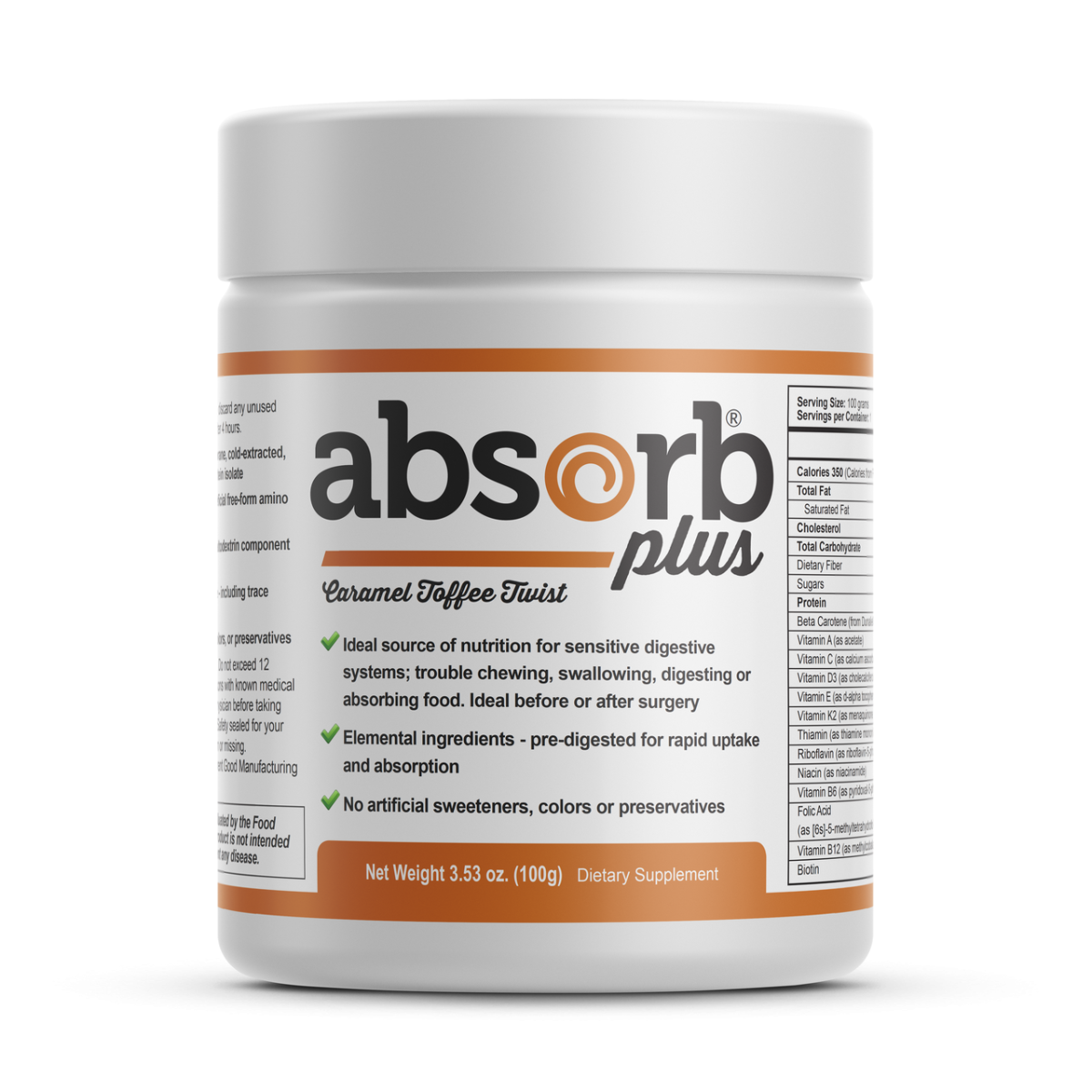 Absorb Plus Caramel Toffee Twist Sample Size 100g
