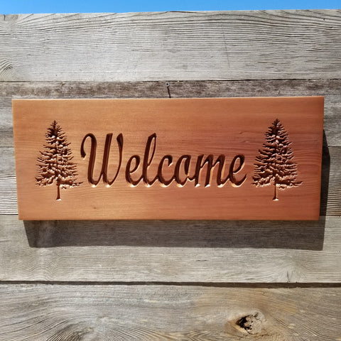 Welcome Sign Outdoors Redwood Trees