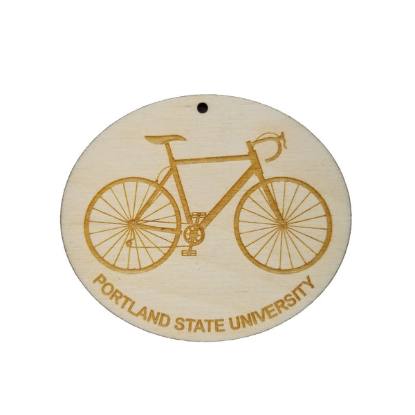 Portland State University Wood Ornament - PSU Mens Bike or Bicycle - Handmade Wood Ornament Made in USA Christmas Decor CSU