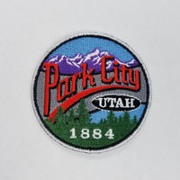 Park City Utah Patch – Mountain Resort Logo UT – Travel Patch Iron On – UT Souvenir Patch – Travel Gift 2.5″ Circle Embellishment Applique