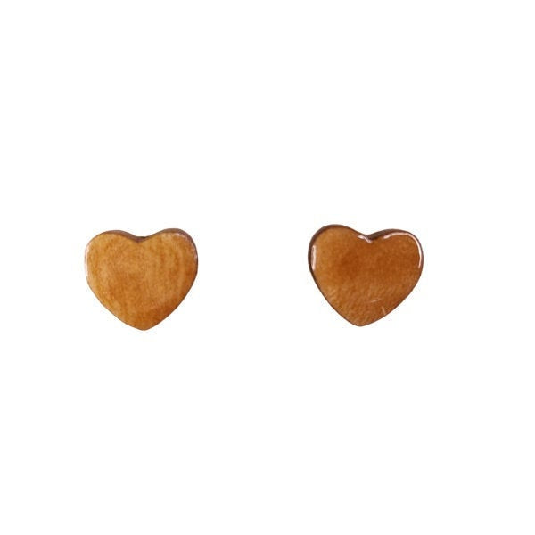Heart Earrings - Wood Earrings - Myrtlewood Stud Earrings